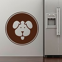 DeStudio Dog Pets Fun Circle Badge Wall Sticker Decal Wall Sticker Size (45cms X 60cms)