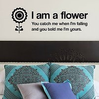 DeStudio Flower Love Quote Wall Sticker Decal Wallart Home Wall Sticker Size (45cms X 60cms)