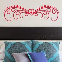DeStudio Heart Border Bed Decor Love Wall Sticker Decal Wallart Vinyl Size (45cms X 60cms)