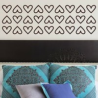 DeStudio Hearts Border Fun Decor Decoration Bed Wall Sticker Decal Home Size (45cms X 60cms)
