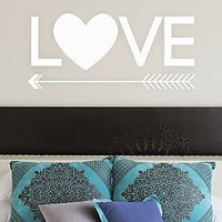 DeStudio Love Arrow Heart Cute Wall Sticker Decal Wallart Vinyl Wall Sticker Size (45cms X 60cms)