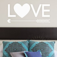 DeStudio Love Arrow Heart Cute Wall Sticker Decal Wallart Vinyl Wall Sticker Size (60cms X 60cms)