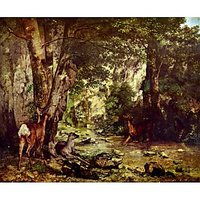 Deer In The Woods By Courbet - Fine Art Print