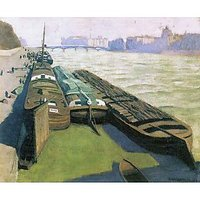 Barges On The Banks Of The Seine By Felix Vallotton - Canvas Art Print