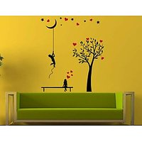 Hoopoe Decor Boy Bringing Moon Down For His Love Wall Sticker -  Multicolour: Medium - 112x133 Cm