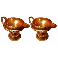 Kuber Diya With Stand And Handle - Pure Brass - Set Of 2