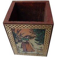 Parvidvap Handicrafts Gems Stone Shisham One Plate Pen Stand - 74480180