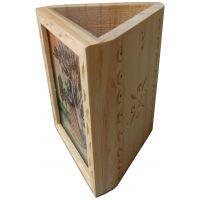 Parvidvap Handicrafts White Wood One Plate Pen Stand - 74480022