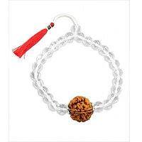 Sphatik With Panch Mukhi Rudraksha Adjustable Bracelet- Free 2 Mukhi Rudraksha