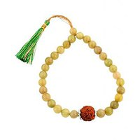Cats Eye Stone Beaded With 5 Mukhi Rudraksha Bracelet - Free Cats Eye Stone