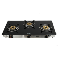 Pigeon 3 Burner Blackline Smart Glass Top Gas Stove