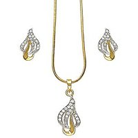 Xcite Golden Pendant Set With American Diamonds - XPE185