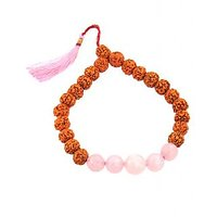 Panch Mukhi Rudraksha With Rose Quartz Gemstone Bracelet- Free Shivji Coin