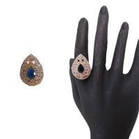 Enchanting Gold And Rodium Plated CZ Studded Blue Stone