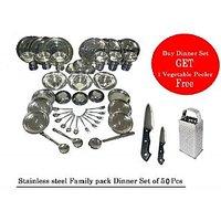 Elton 51 Pcs (Stainless Steel ) Family Pack Dinner Set