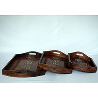 BEAUTIFUL HAND CARVED WOODEN SERVING TRAY SET OF 3