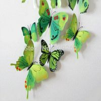 12pcs 3D Butterfly Sticker Art Wall Mural Door Decals Home Decor Room (GREEN)