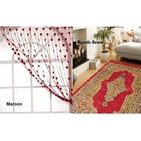 Home Passion Designer Vintage Carpet With 3 Maroon Heart Curtain