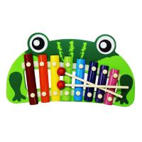 Cute Frog Shape Multicolor Wooden Xylophone For Kids Musical Toy With 8 Notes