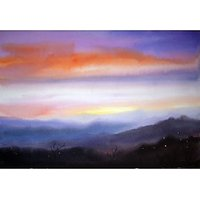 Evening Himalaya-Watercolor On Paper Painting