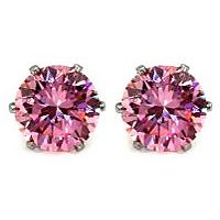 5.00mm Round Pink Cubic Zirconia Rhodium Plated Stud Earring