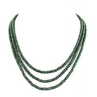 Designer Emerald Beaded With Blue Sapphire Gems With 925 Silver Clasp Necklace
