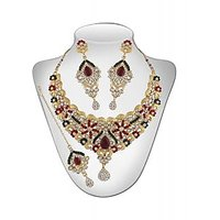 Panini Alloy Coloured Necklace Set With Mangtikka_2697