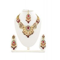 Panini Red And Golden Alloy Necklace Set _9999
