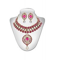 Panini Pink And White Stones Alloy Necklace Set_IJ_214