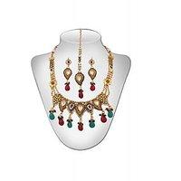 Panini Alloy Copper Base Necklace Set With Mangtikka_N_100
