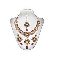 Panini Alloy Copper Base Necklace Set With Mangtikka_N_147