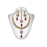 Panini Alloy Copper Base Necklace Set With Mangtikka_N_64