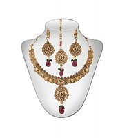 Panini Alloy Copper Base Necklace Set With Mangtikka_N_83