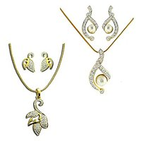 Dg Jewels 24k Gold And Silver Plated Bollywood Collection Of  Beautiful 2 Pendant Sets -DGPS  Combo 009