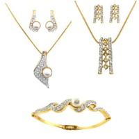 Dg Jewels 24k Gold Plated Elegant 2 Pendant Sets And 1 Bracelet -DGPS  Combo 016