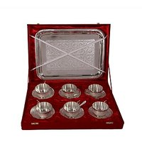 German Silver Set Of 6 Cup-Plates With Spoon And Tray