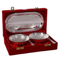 German Silver Set Of 2 Bowls With 2 Spoons And Tray