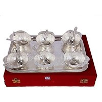 German Silver Set Of 6 Apple Shape Bowls With 6 Spoons And Tray