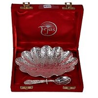 German Silver Flower Shape Single Bowl Set With Spoon
