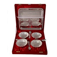 German Silver Set Of 4 Bowls With 4 Spoons And Tray(FRH313)