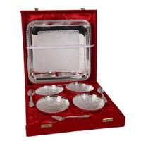 German Silver Set Of 4 Bowls With 4 Spoons And Tray