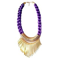 Anshul Fashion Purple Metal Bead Fashion Necklace
