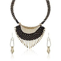 Anshul Fashion Wedding Party Purpose Black Metal Necklace