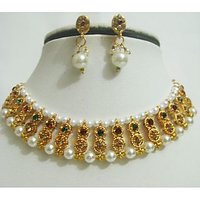 Gold Plated Studded Diamonds Pearls Necklace & Earrings Jewellery Set