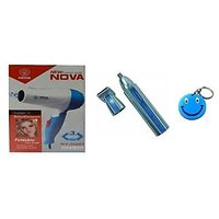 Combo Of Hair Dryer-850 W+NOSE & EAR Hair Trimmer With Free Smiley Key Chain.
