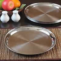 HomeScapes Stainless Steel 6 Pcs. Two Tone Dinner Plate Set