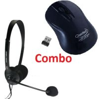 Quantum 2.4 Ghz Wireless Mouse & Headphone With Mic - Combo Pack Of Qhm 262w Wireless Mouse + Qhm 316 Headset