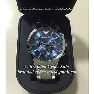 EA AR2448 Blue Dial Chronograph Mens Watch With EA Box