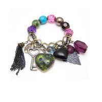 Jewel Touch Peacock Beads Tassel Charms Bracelet For Women