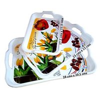 Imported & Designer Heavy Duty Unbreakable Plastic Serving Tray- Set Of 3